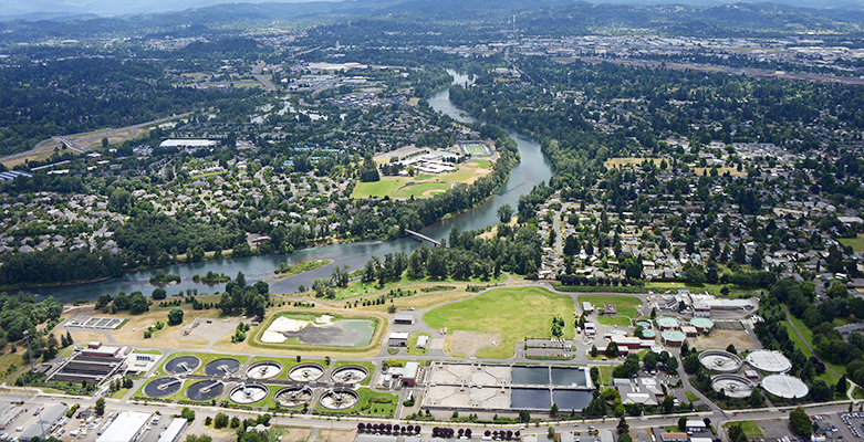 aerial of wastewater treatment plant by the willamette river
