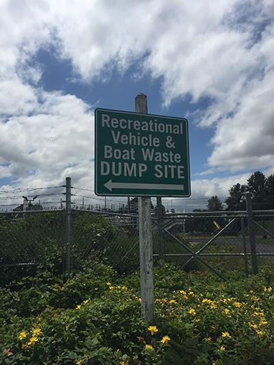 Dump Station Entrance Sign